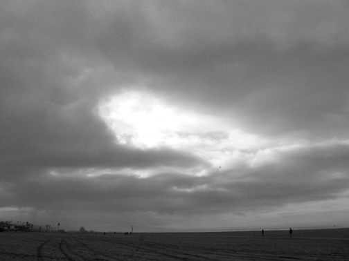gray bw clouds and beach