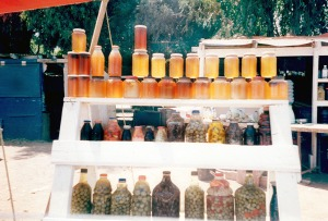 Locally produced honey and olives on the roadside near Maneadero