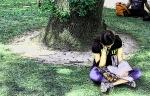 reader under tree sketched