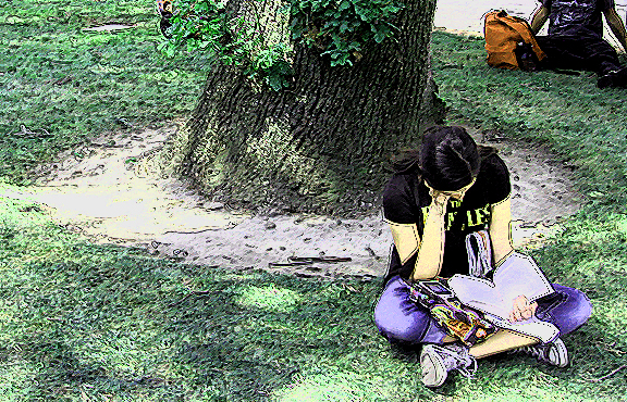 reader under tree sketched