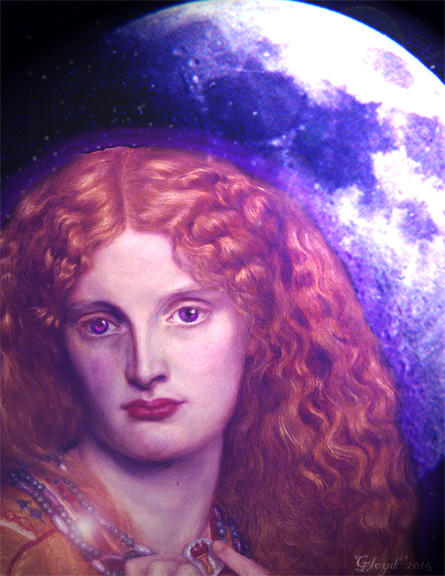 "The Woman with the Indigo Eyes A manipulation of found and original photography (Based on John Waterhouse's ""Helen of Troy"")"